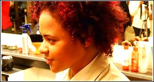 Rich Red & Random Spirals - Afro Cut & Color Makeover